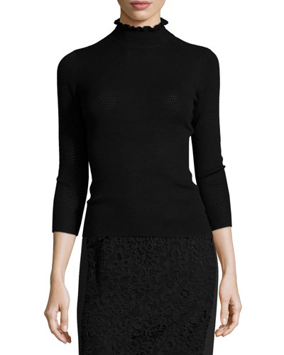 Merino Wool Mock-Neck Sweater, Black