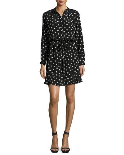 Dandelion-Print Silk Shirtdress, Black/Chalk