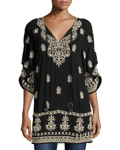 Eileen Embroidered Ikat Tunic, Plus Size