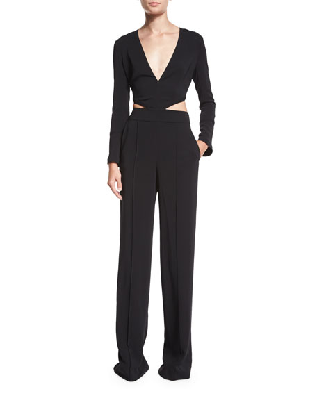 A.L.C.Morgan Long-Sleeve Cutout Jumpsuit, Black