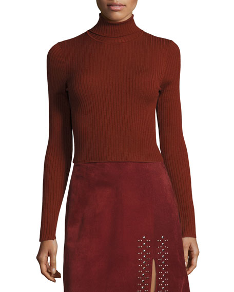 Elisa Cropped Ribbed Turtleneck Sweater, Copper
