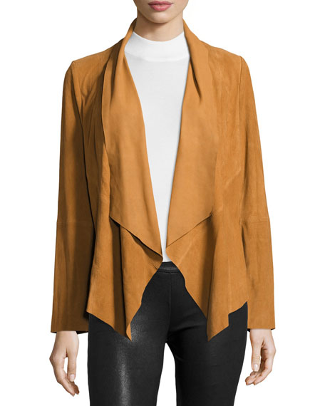 blanknyc mixed jacket drapes p s asymmetrical faux draped suede front knit media ribbed