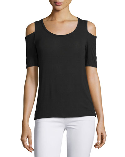 Drapey Lux Cold-Shoulder Tee, Black