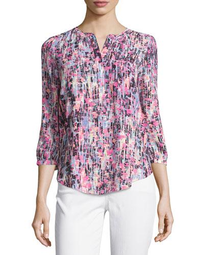 3/4-Sleeve Printed Pleated-Back Blouse, Pink Lemonade