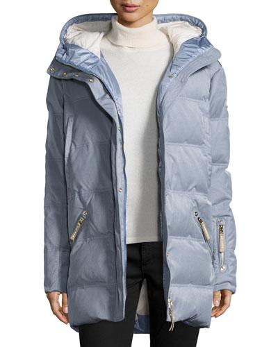 Michelin Hooded Down Coat, Platinum