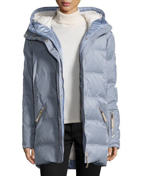 Bogner Michelin Hooded Down Coat, Platinum