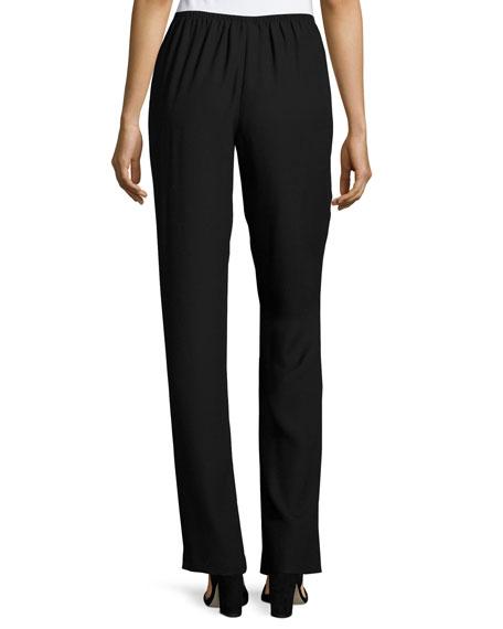 Satin-Back Crepe Straight-Leg Pants, Black, Petite