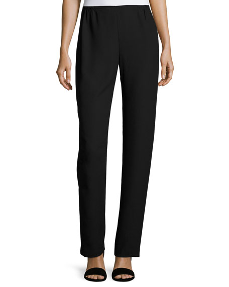 Caroline Rose Satin-Back Crepe Straight-Leg Pants, Black, Plus