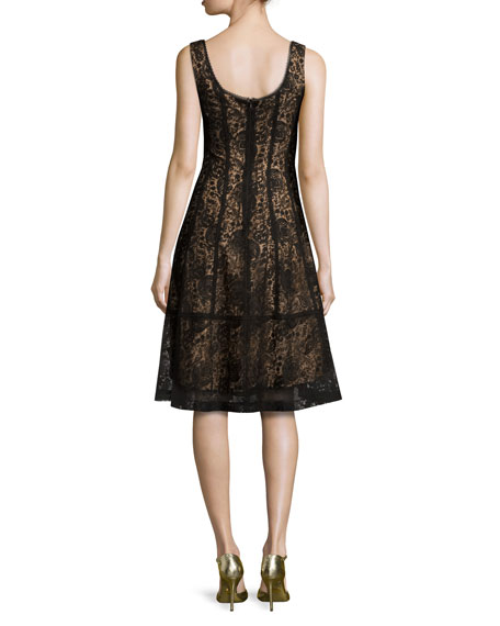 Sleeveless Paneled Lace Cocktail Dress, Black