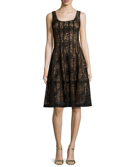 Nanette Lepore Sleeveless Paneled Lace Cocktail Dress, Black