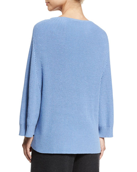 Ribbed Boat-Neck Dolman Sweater, Blue, Petite