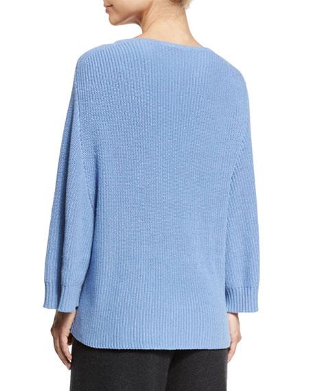Ribbed Boat-Neck Dolman Sweater, Blue, Petite