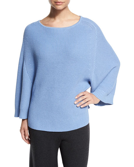 Joan Vass Ribbed Boat-Neck Dolman Sweater, Blue, Petite