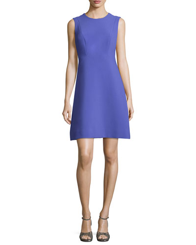 sicily structured ponte dress, ensemble blue