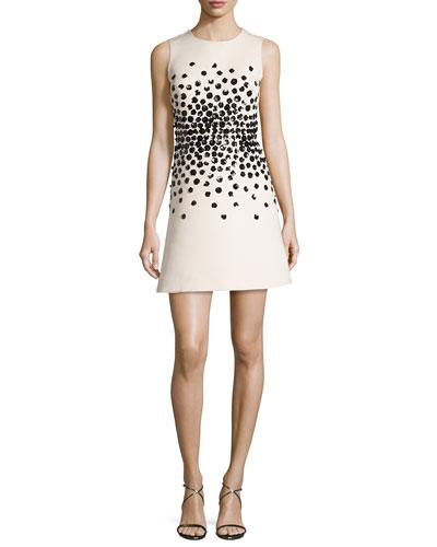 sleeveless embellished structured crepe dress, light shale
