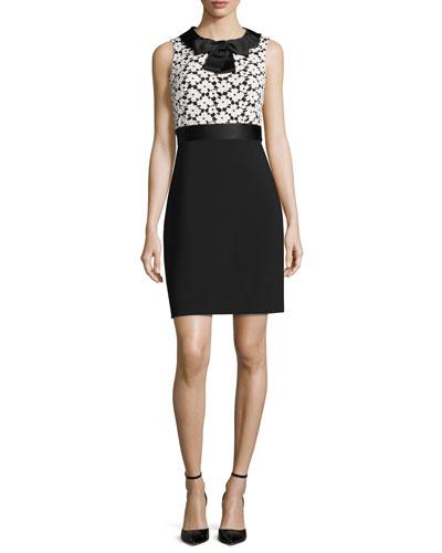 sleeveless floral lace sheath dress, light shale/black