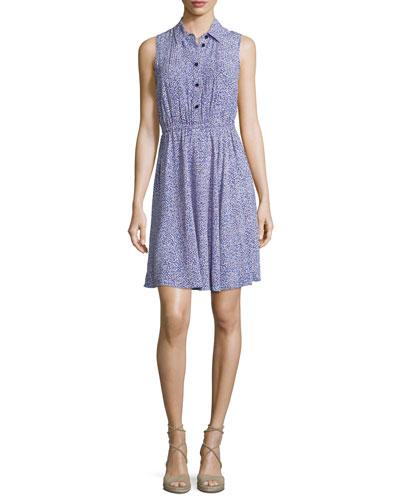 sleeveless floral jersey shirtdress, ensemble blue