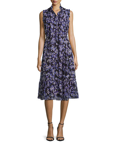 sleeveless tie-Neck floral silk midi dress, black/blue