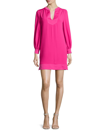 Long-Sleeve Crepe Shift Dress, Magpie Magenta