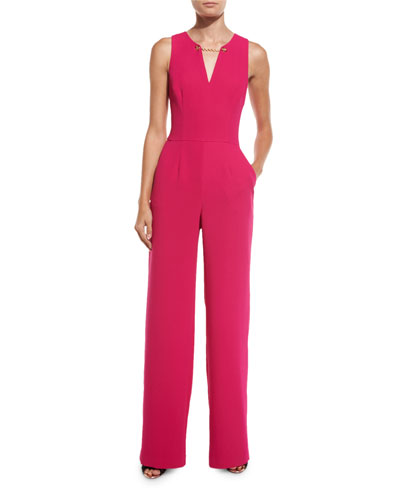 Sleeveless Crepe Jumpsuit w/ Chain Detail, Magpie Magenta