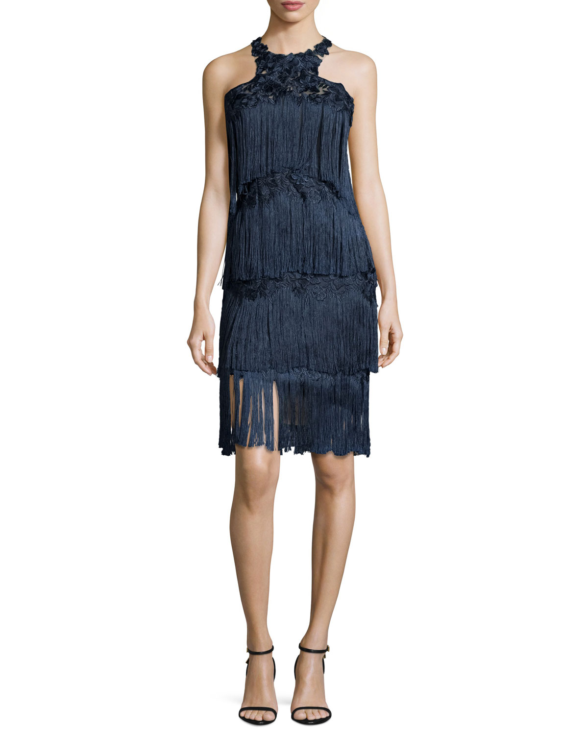 feb411f6f54f Marchesa Notte Sleeveless Tiered Fringe Cocktail Dress, Navy ...