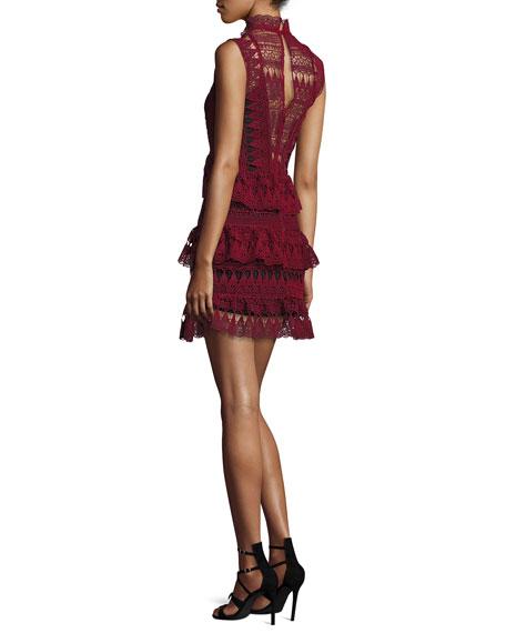 Sleeveless Tiered Lace Mini Dress, Burgundy