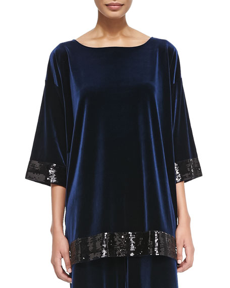 Joan Vass Velour Sequin-Trimmed Tunic, Navy