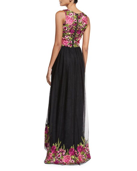 f493203bcd Marchesa Notte Sleeveless Embroidered High-Low Tulle Gown   Neiman Marcus