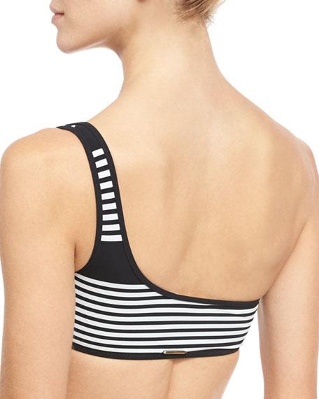 Striped & Polka Dot One-Shoulder Swim Top, Black/White