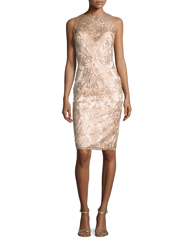 7520bda2078 Marchesa Notte Sleeveless Embroidered Illusion Cocktail Dress