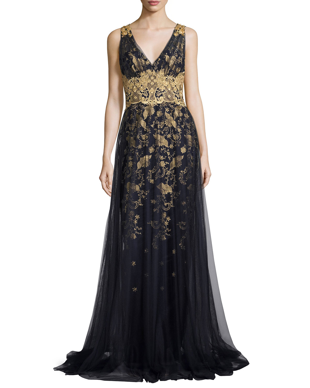 ceb50b250dd500 Marchesa Notte Sleeveless Embroidered Floral Tulle Gown