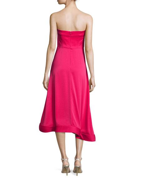 Strapless Asymmetric Crepe Cocktail Dress, Magenta