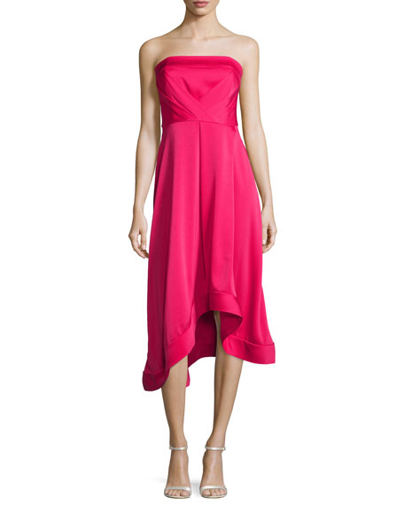 Strapless Asymmetric Crepe Cocktail Dress, Magenta