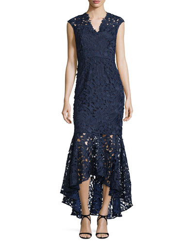 Sleeveless Lace Mermaid Gown, Navy