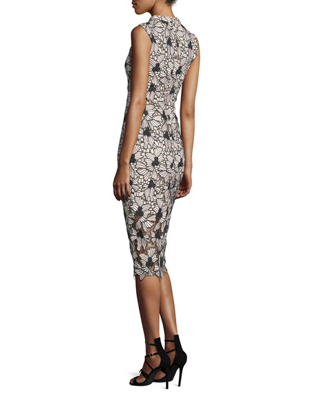 Sleeveless Floral Midi Cocktail Dress, Jet/Blush