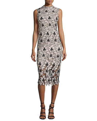 Sleeveless Floral Midi Cocktail Dress, Jet/Blush