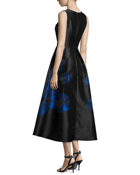 Sleeveless Floral Taffeta Midi Gown, Jet/Multicolor