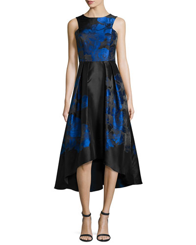 Sleeveless Floral Taffeta Midi Gown, Jet/Multicolor