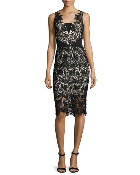 Shoshanna Sleeveless Lace Cocktail Dress, Jet