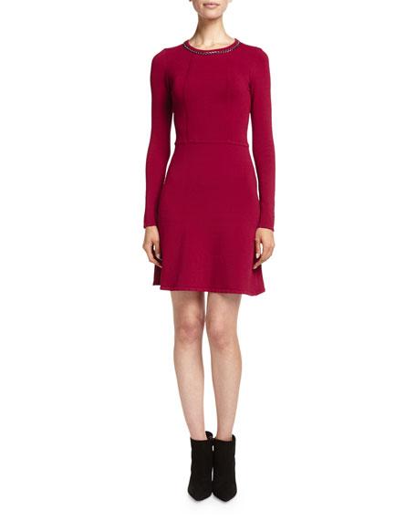 Embellished Fit-and-Flare Ponte Dress, Garnet