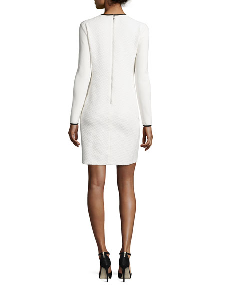 Long-Sleeve Jacquard Sheath Dress, Ivory