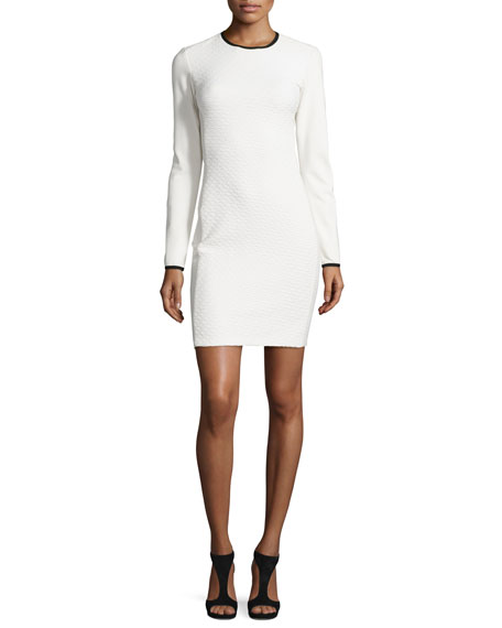 Shoshanna Long-Sleeve Jacquard Sheath Dress, Ivory