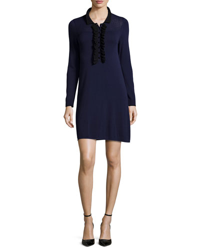 Long-Sleeve Ruffle-Trim Sweaterdress, Navy/Jet