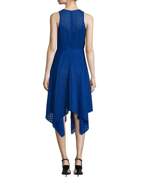 Sleeveless Chevron Chiffon Handkerchief Dress, Azure