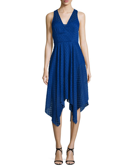 Shoshanna Sleeveless Chevron Chiffon Handkerchief Dress, Azure