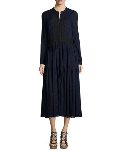 Long-Sleeve Polka-Dot Midi Dress, Navy