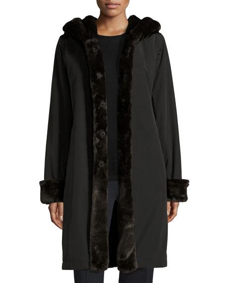 Jane Post Hooded Faux-Fur-Trim Jacket, Black/Brown