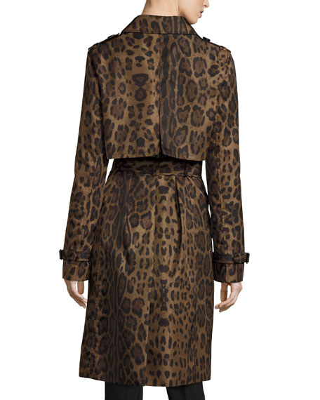 Double-Breasted Leopard-Print Midi Trenchcoat, Brown