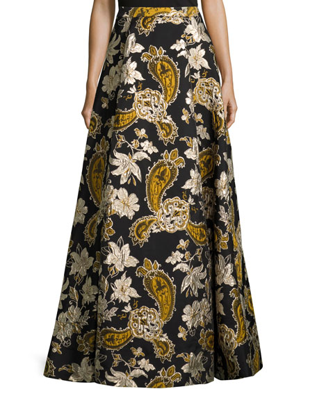 Alice + Olivia Paisley Embroidered Ball Skirt, Black/Gold