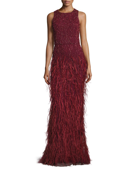 Alice + Olivia Sleeveless Beaded Feather Gown, Bordeaux